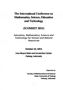 The International Conference on Mathematics, Science, Education and Technology (ICOMSET 2015) October 22, 2015