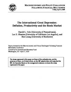 The International Great Depression: Deflation, Productivity and the Stock Market