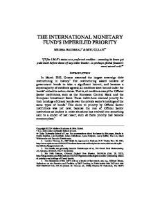 THE INTERNATIONAL MONETARY FUND S IMPERILED PRIORITY