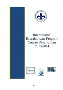 The International School of Florence International Baccalaureate (IB) Diploma Program Course Descriptions