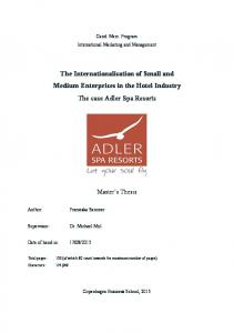 The Internationalisation of Small and Medium Enterprises in the Hotel Industry The case Adler Spa Resorts
