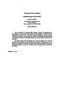 The Internet Worm Incident. Technical Report CSD-TR-933 *