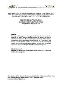THE INTERRELATIONSHIP BETWEEN MERCHANDISE TRADE, ECONOMIC GROWTH AND FDI INFLOWS IN INDIA