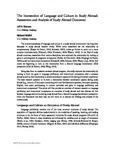 The Intersection of Language and Culture in Study Abroad: Assessment and Analysis of Study Abroad Outcomes
