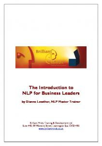 The Introduction to NLP for Business Leaders by Dianne Lowther, NLP Master Trainer