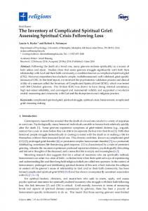 The Inventory of Complicated Spiritual Grief: Assessing Spiritual Crisis Following Loss