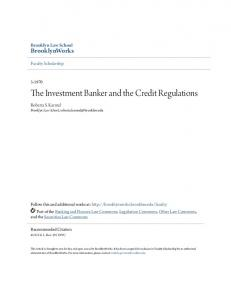 The Investment Banker and the Credit Regulations
