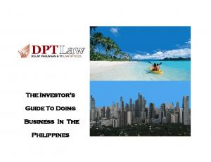 The Investor s. Guide To Doing. Business In The. Philippines