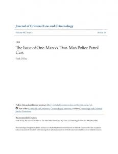The Issue of One-Man vs. Two-Man Police Patrol Cars