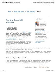 The Java Regex API Explained