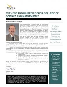 THE JESS AND MILDRED FISHER COLLEGE OF SCIENCE AND MATHEMATICS