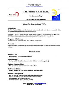 The Journal of Asia TEFL
