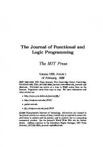 The Journal of Functional and Logic Programming. The MIT Press