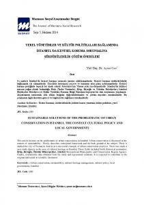 The Journal of Marmara Social Research