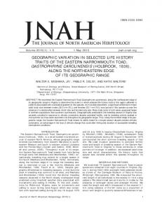 The Journal of North American Herpetology