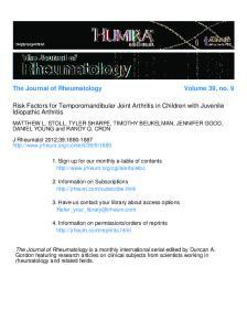 The Journal of Rheumatology Volume 39, no. 9. Risk Factors for Temporomandibular Joint Arthritis in Children with Juvenile Idiopathic Arthritis