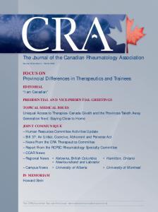 The Journal of the Canadian Rheumatology Association