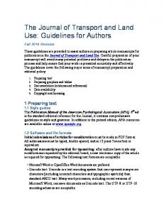 The Journal of Transport and Land Use: Guidelines for Authors