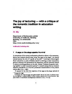The joy of lecturing with a critique of the romantic tradition in education writing