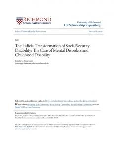 The Judicial Transformation of Social Security Disability: The Case of Mental Disorders and Childhood Disability