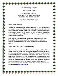 THE JUNGLE BOOK. By RUDYARD KIPLING ADAPTED BY STUART PATTERSON DIRECTED BY GRAEME MESSER. Teachers RESOURCE Pack