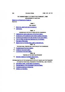 THE KARNATAKA ELECTRICITY REFORM ACT, 1999 PART I