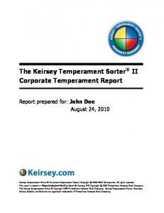 The Keirsey Temperament Sorter II Corporate Temperament Report