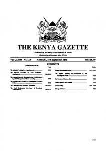 THE KENYA GAZETTE. Published by Authority of the Republic of Kenya. (Registered as a Newspaper at the G.P.O.)