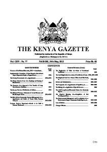 THE KENYA GAZETTE Published by Authority of the Republic of Kenya
