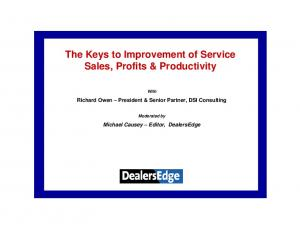 The Keys to Improvement of Service Sales, Profits & Productivity
