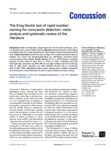 The King-Devick test of rapid number naming for concussion detection: metaanalysis and systematic review of the literature