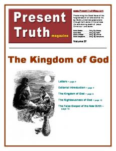The Kingdom of God. Volume 37. Letters page 2. Editorial Introduction page 4. The Kingdom of God page 5. The Righteousness of God page 13