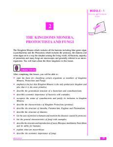 THE KINGDOMS MONERA, PROTOCTISTA AND FUNGI