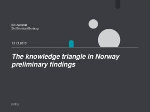 The knowledge triangle in Norway preliminary findings