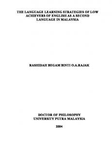 THE LANGUAGE LEARNING STRATEGIES OF LOW ACHIEVERS OF ENGLISH AS A SECOND LANGUAGE IN MALAYSIA