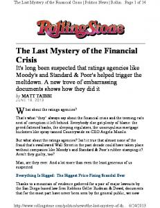 The Last Mystery of the Financial Crisis