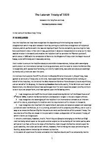 The Lateran Treaty of 1929