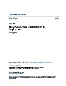 The Law and Racial Discrimination in Employment
