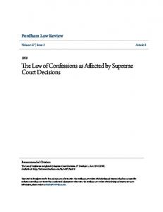 The Law of Confessions as Affected by Supreme Court Decisions