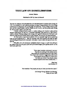 THE LAW ON HOMELESSNESS