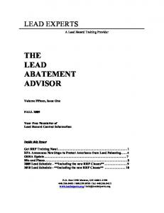 THE LEAD ABATEMENT ADVISOR