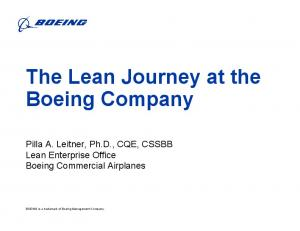 The Lean Journey at the Boeing Company