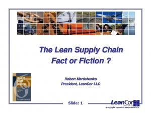 The Lean Supply Chain Fact or Fiction?