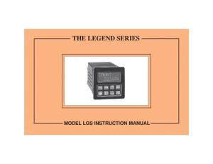 THE LEGEND SERIES MODEL LGS INSTRUCTION MANUAL