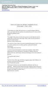 THE LETTERS OF ERNEST HEMINGWAY, VOLUME 1: