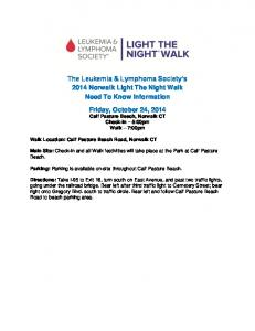 The Leukemia & Lymphoma Society s 2014 Norwalk Light The Night Walk Need To Know Information
