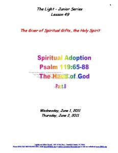 The Light - Junior Series Lesson 49. The Giver of Spiritual Gifts the Holy Spirit