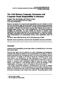 The Link Between Corporate Governance and Corporate Social Responsibility in Insurance