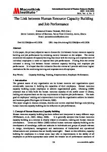The Link between Human Resource Capacity Building and Job Performance
