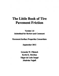 The Little Book of Tire Pavement Friction